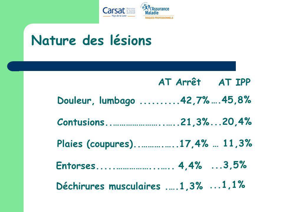 Nature des lésions Douleur, lumbago..........42,7% Contusions..…………………..…..21,3% Plaies (coupures)..……….…..17,4% Déchirures musculaires.….1,3% Entorse