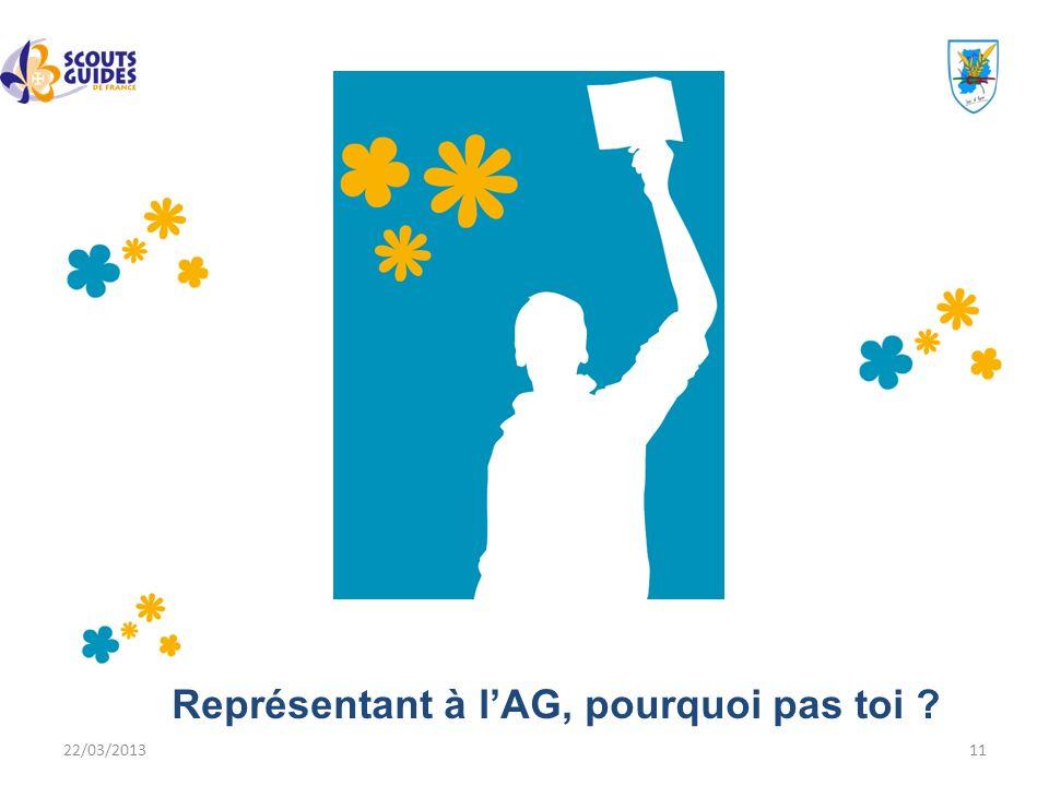 22/03/201311 Représentant à lAG, pourquoi pas toi ?