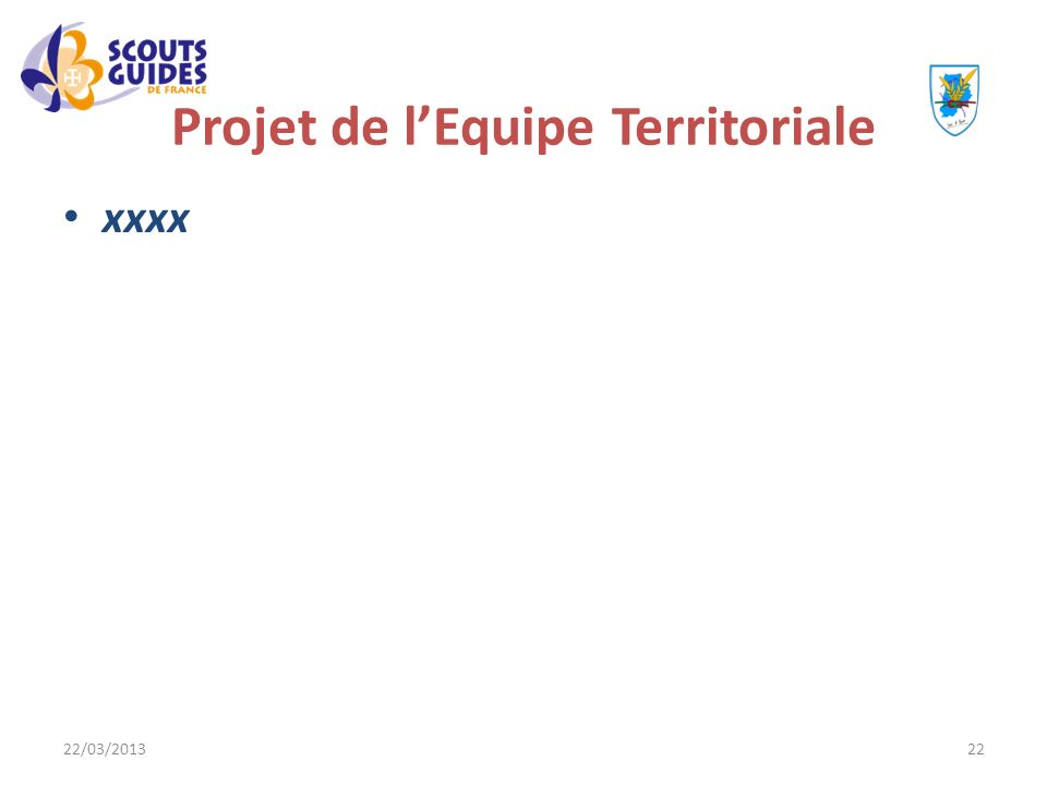 22/03/201322 Projet de lEquipe Territoriale xxxx
