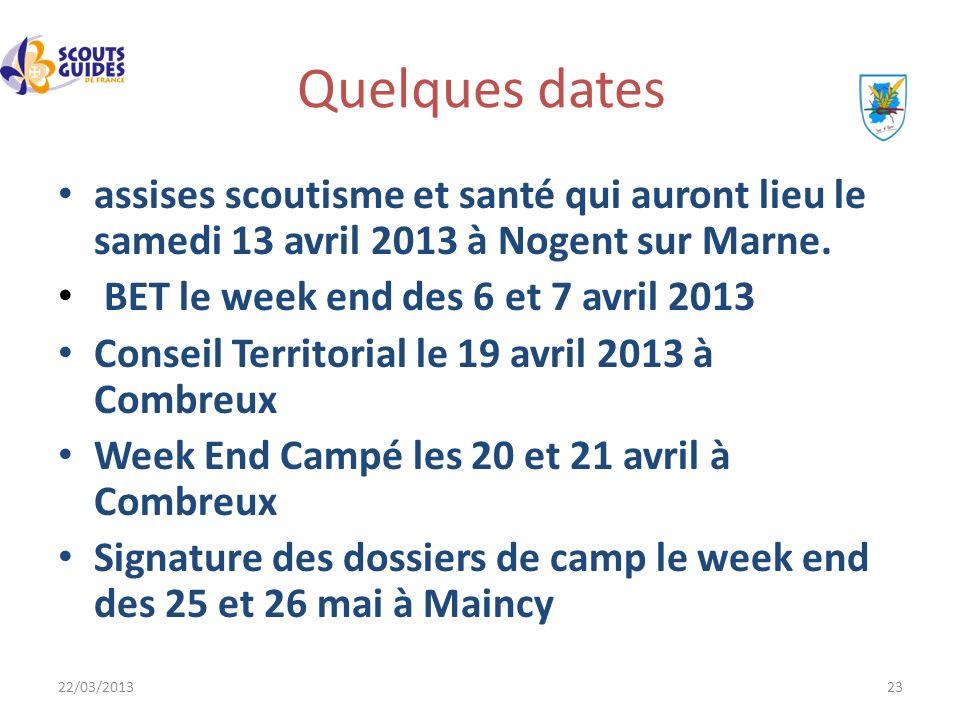 22/03/201323 Quelques dates assises scoutisme et santé qui auront lieu le samedi 13 avril 2013 à Nogent sur Marne. BET le week end des 6 et 7 avril 20