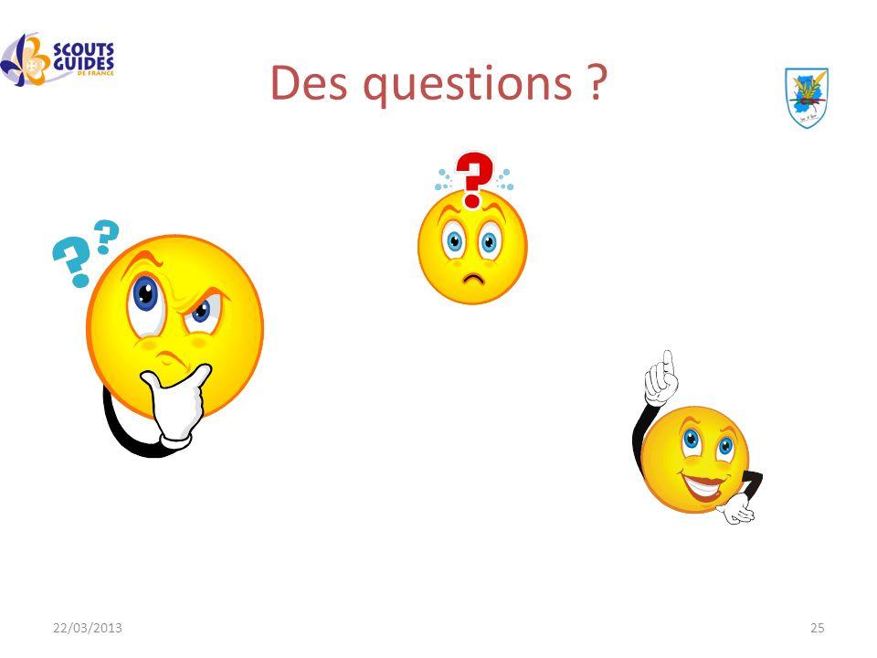 22/03/201325 Des questions ?