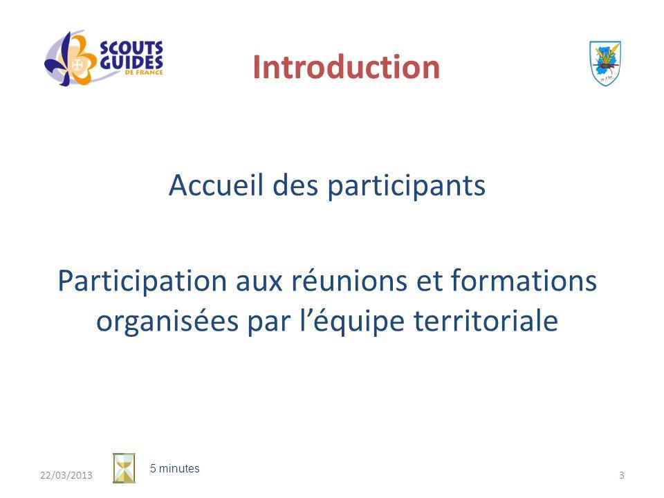 22/03/20133 Introduction Accueil des participants Participation aux réunions et formations organisées par léquipe territoriale 5 minutes