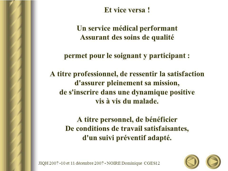 JIQH 2007 -10 et 11 décembre 2007 - NOIRE Dominique CGES 12 Et vice versa ! Un service médical performant Assurant des soins de qualité permet pour le