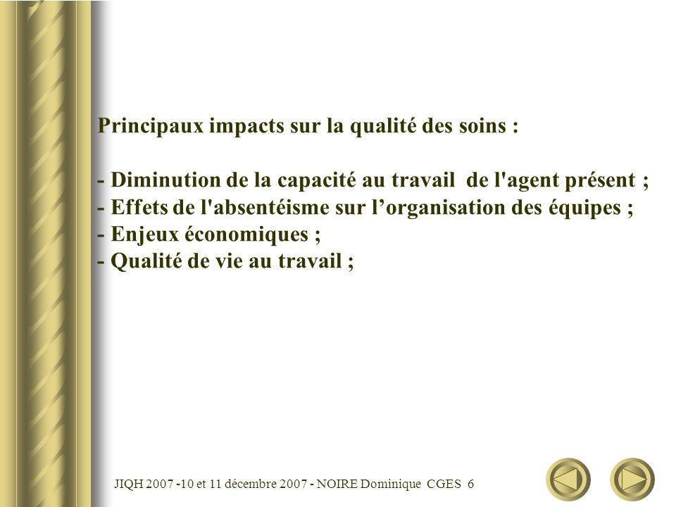 JIQH 2007 -10 et 11 décembre 2007 - NOIRE Dominique CGES 7 Fatigue au travail : = risque de moindre disponibilité ; = risque de démotivation ; = risque derreur Rappel : 57 % des IDE et 52 % des AS se déclarent fatigués.