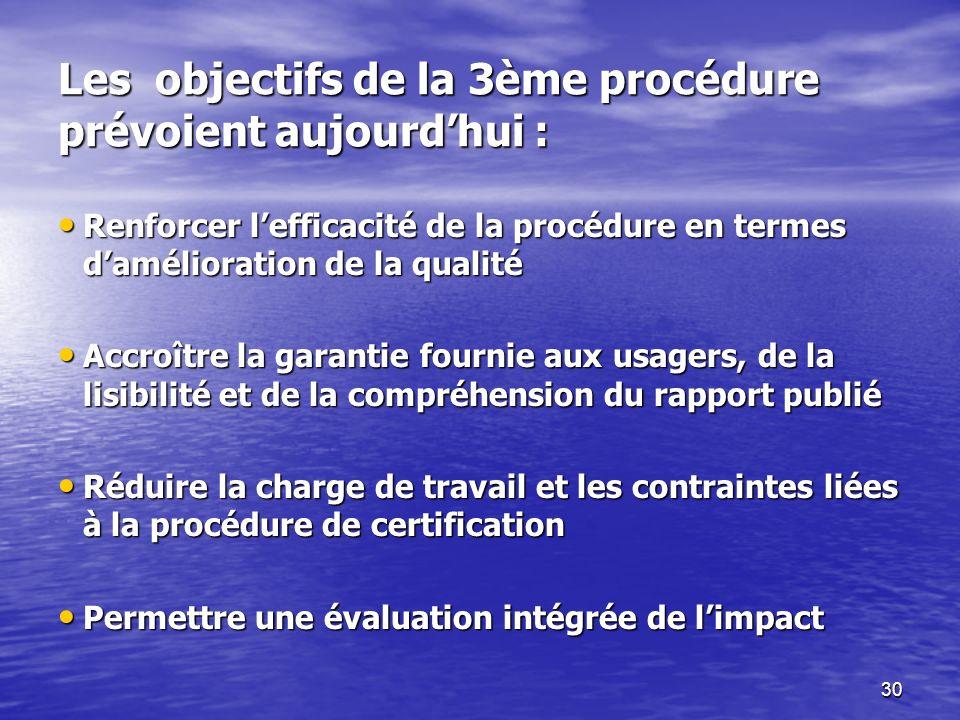 30 Les objectifs de la 3ème procédure prévoient aujourdhui : Renforcer lefficacité de la procédure en termes damélioration de la qualité Renforcer lefficacité de la procédure en termes damélioration de la qualité Accroître la garantie fournie aux usagers, de la lisibilité et de la compréhension du rapport publié Accroître la garantie fournie aux usagers, de la lisibilité et de la compréhension du rapport publié Réduire la charge de travail et les contraintes liées à la procédure de certification Réduire la charge de travail et les contraintes liées à la procédure de certification Permettre une évaluation intégrée de limpact Permettre une évaluation intégrée de limpact