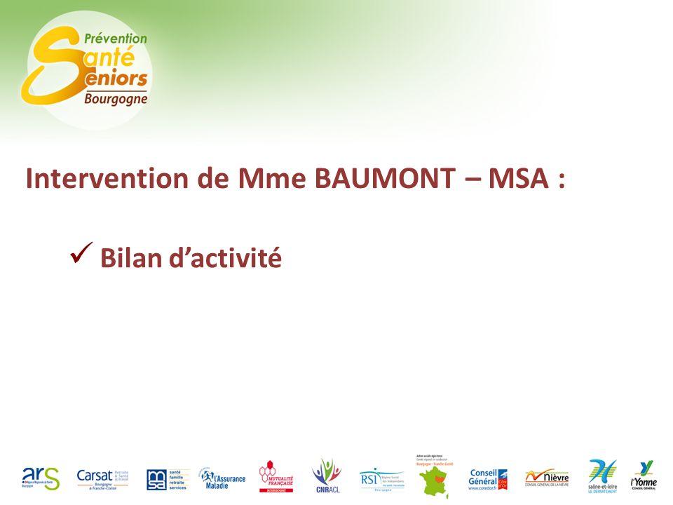 Intervention de Mme BAUMONT – MSA : Bilan dactivité