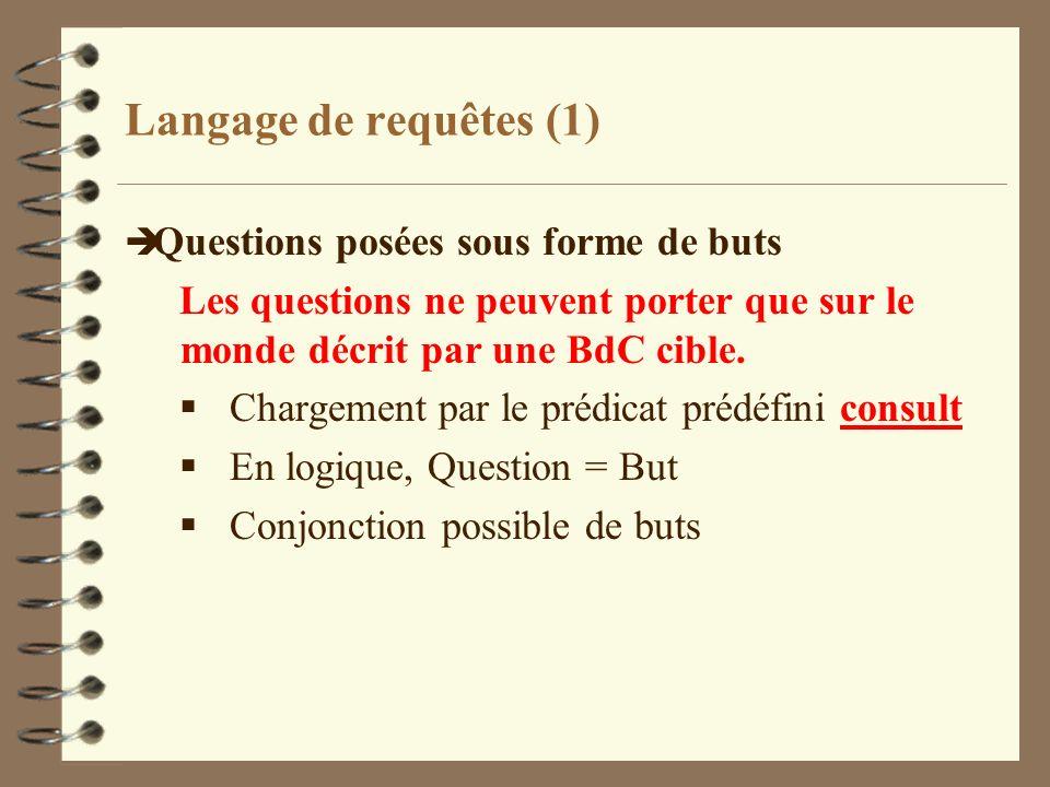 Langage de requêtes (1) è Questions posées sous forme de buts Les questions ne peuvent porter que sur le monde décrit par une BdC cible. Chargement pa