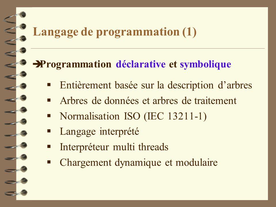Langage de programmation (1) è Programmation déclarative et symbolique Entièrement basée sur la description darbres Arbres de données et arbres de tra