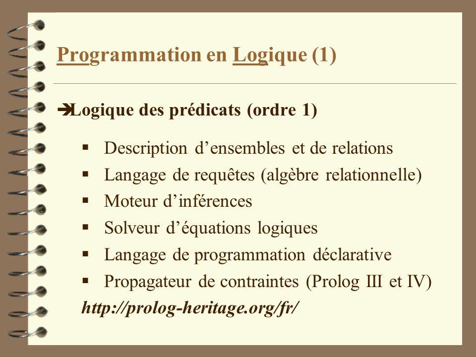Programmation en Logique (1) è Logique des prédicats (ordre 1) Description densembles et de relations Langage de requêtes (algèbre relationnelle) Mote