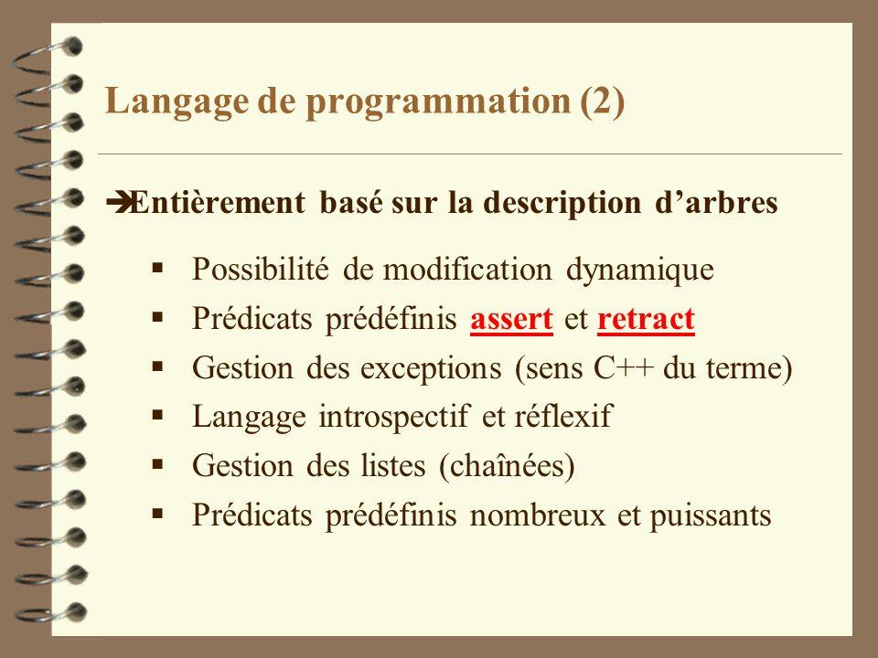 Langage de programmation (2) è Entièrement basé sur la description darbres Possibilité de modification dynamique Prédicats prédéfinis assert et retrac