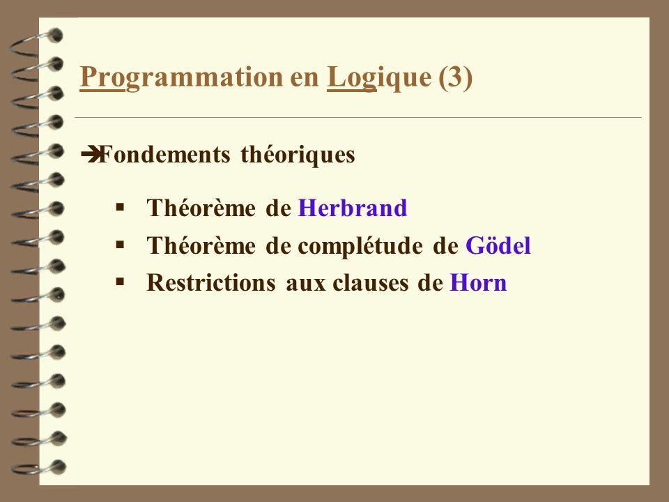 Langage de requêtes (2) è Système formel des clauses de Horn Le monde est supposé clos.