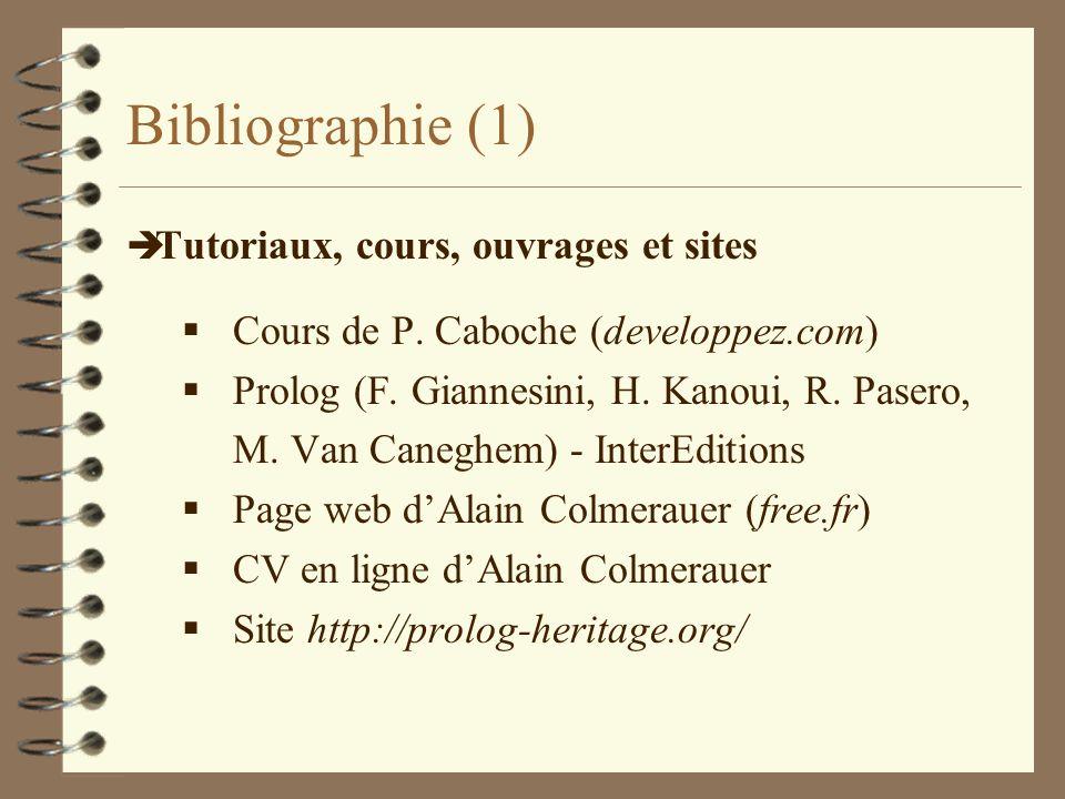 Bibliographie (1) è Tutoriaux, cours, ouvrages et sites Cours de P. Caboche (developpez.com) Prolog (F. Giannesini, H. Kanoui, R. Pasero, M. Van Caneg