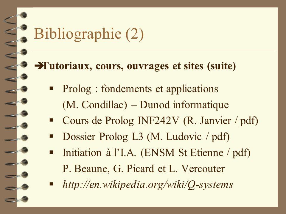 Bibliographie (2) è Tutoriaux, cours, ouvrages et sites (suite) Prolog : fondements et applications (M. Condillac) – Dunod informatique Cours de Prolo