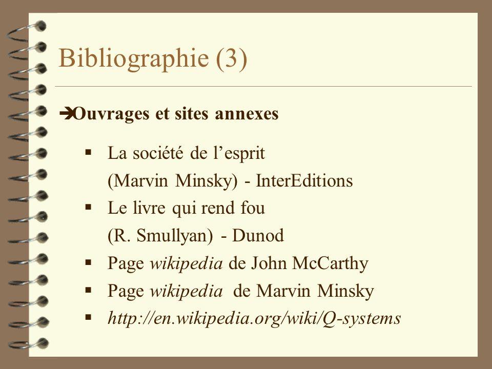 Bibliographie (3) è Ouvrages et sites annexes La société de lesprit (Marvin Minsky) - InterEditions Le livre qui rend fou (R. Smullyan) - Dunod Page w