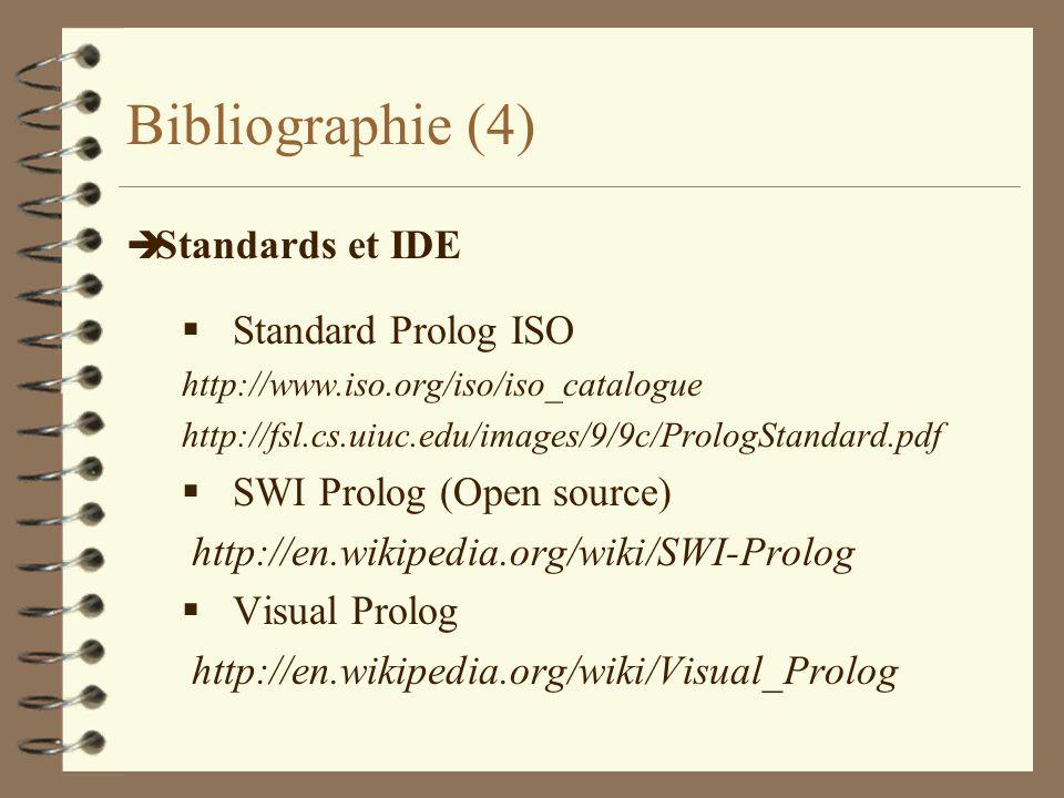 Bibliographie (4) è Standards et IDE Standard Prolog ISO http://www.iso.org/iso/iso_catalogue http://fsl.cs.uiuc.edu/images/9/9c/PrologStandard.pdf SW
