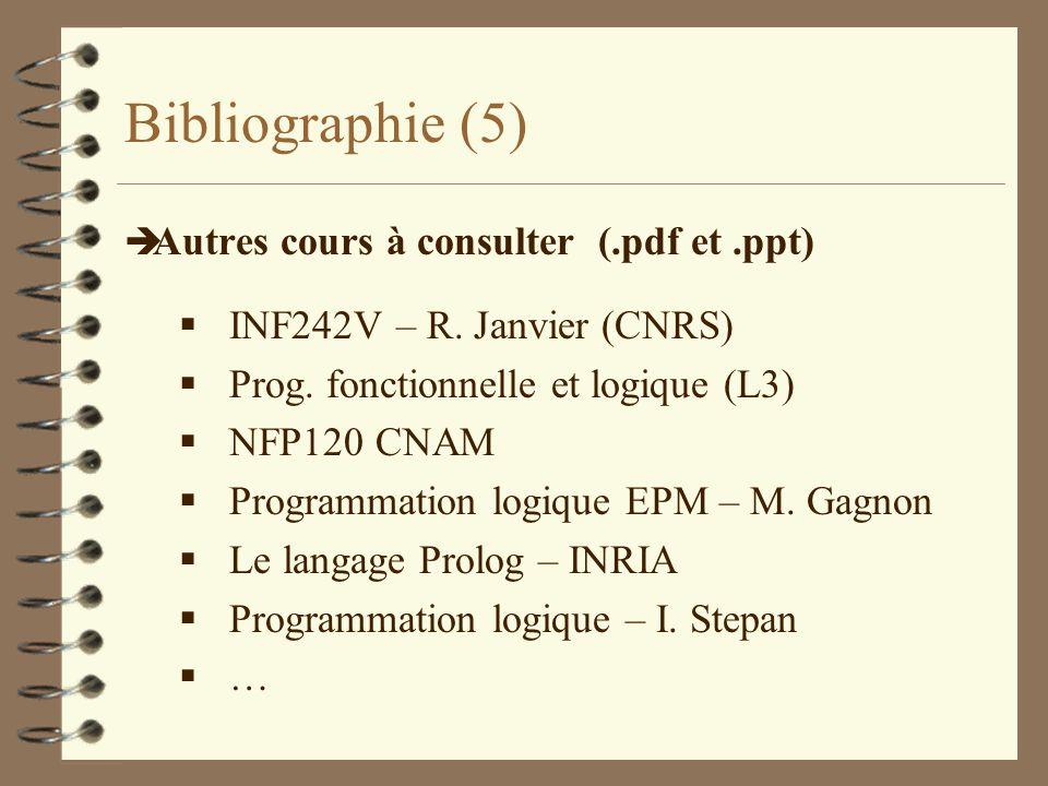 Bibliographie (5) è Autres cours à consulter (.pdf et.ppt) INF242V – R. Janvier (CNRS) Prog. fonctionnelle et logique (L3) NFP120 CNAM Programmation l