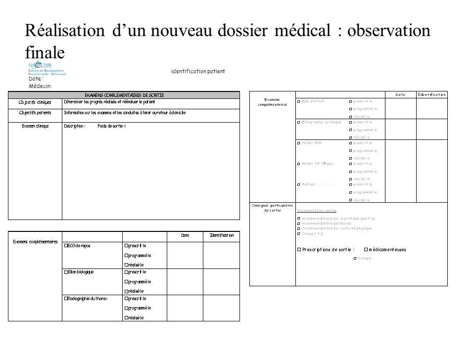 identification patient Date : Médecin: Réalisation dun nouveau dossier médical : observation finale