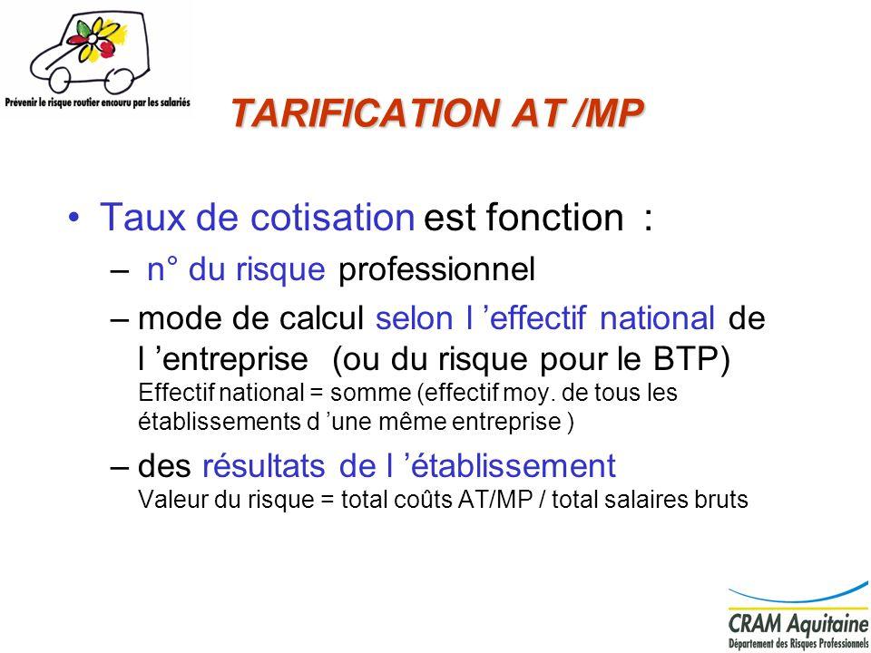 TARIFICATION AT /MP Taux de cotisation est fonction : – n° du risque professionnel –mode de calcul selon l effectif national de l entreprise (ou du ri