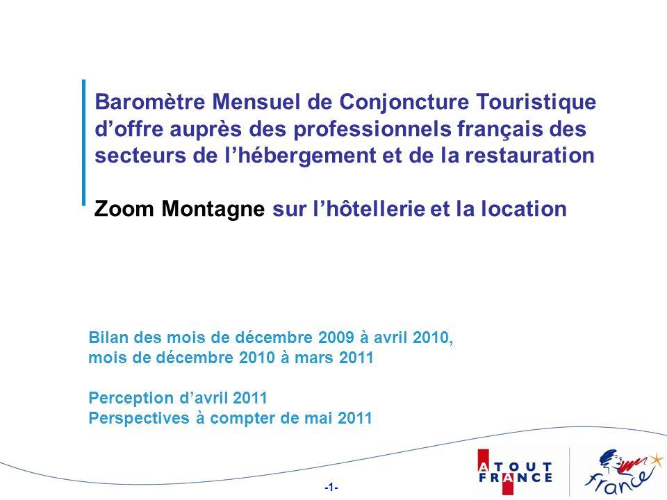 -1- 11 Baromètre Mensuel de Conjoncture Touristique doffre auprès des professionnels français des secteurs de lhébergement et de la restauration Zoom Montagne sur lhôtellerie et la location Bilan des mois de décembre 2009 à avril 2010, mois de décembre 2010 à mars 2011 Perception davril 2011 Perspectives à compter de mai 2011