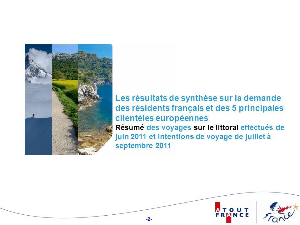 -43- Structure des séjours sur le littoral selon leur tranche de durée Durée moyenne, en jours