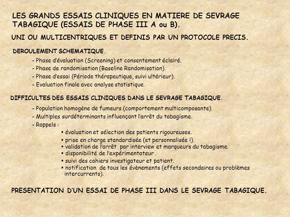 LES GRANDS ESSAIS CLINIQUES EN MATIERE DE SEVRAGE TABAGIQUE (ESSAIS DE PHASE III A ou B). UNI OU MULTICENTRIQUES ET DEFINIS PAR UN PROTOCOLE PRECIS. D