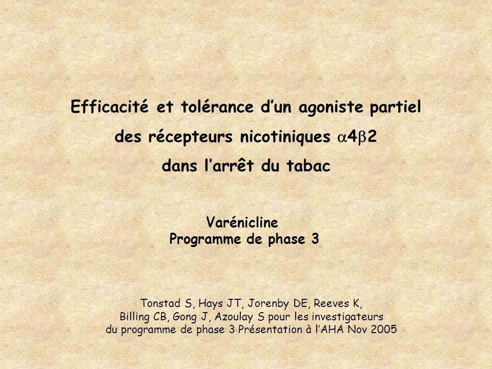 Efficacité et tolérance dun agoniste partiel des récepteurs nicotiniques 4 2 dans larrêt du tabac Varénicline Programme de phase 3 Tonstad S, Hays JT,