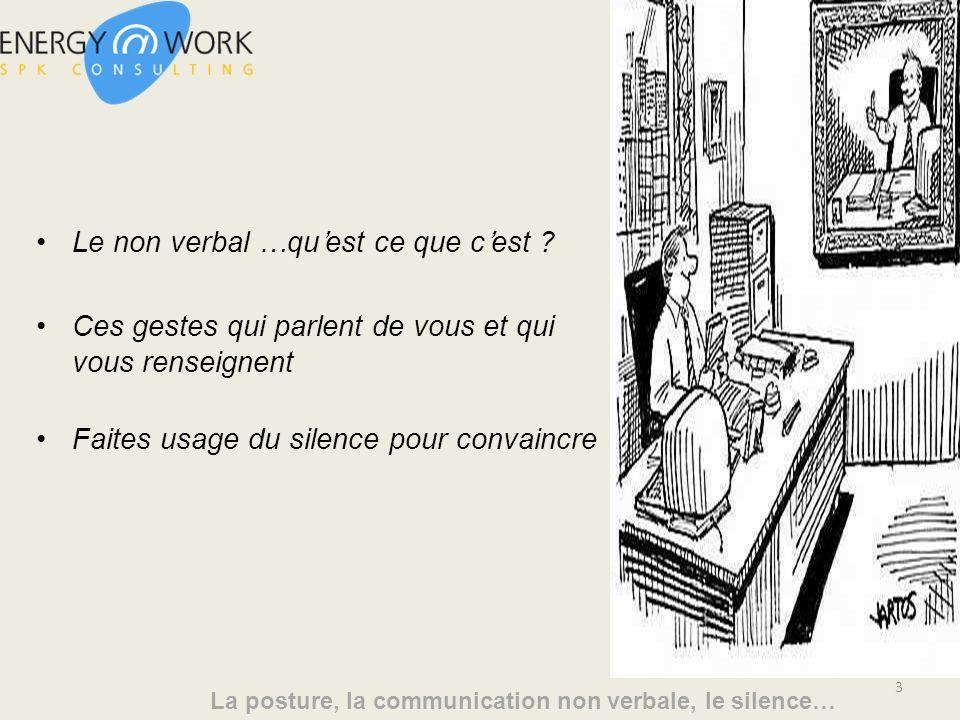 La posture, la communication non verbale, le silence… Le non verbal …quest ce que cest .