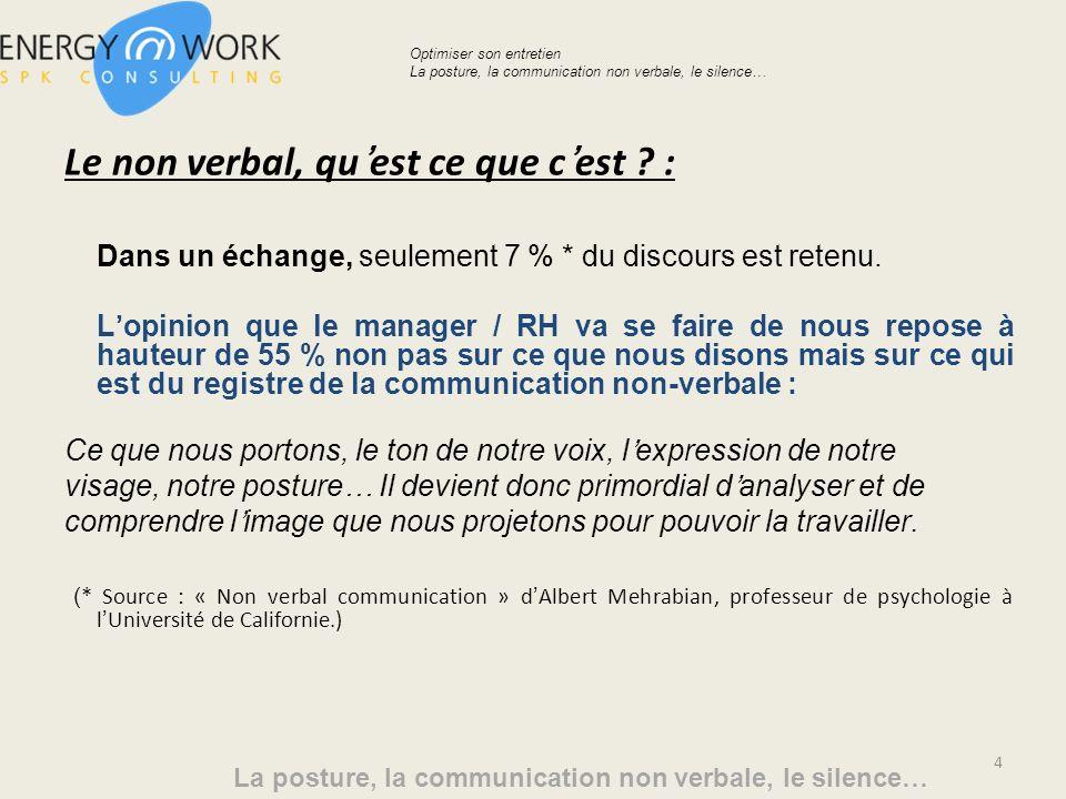 Le non verbal, quest ce que cest .: Dans un échange, seulement 7 % * du discours est retenu.
