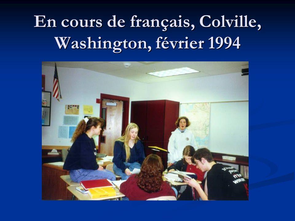 En cours de français, Colville, Washington, février 1994
