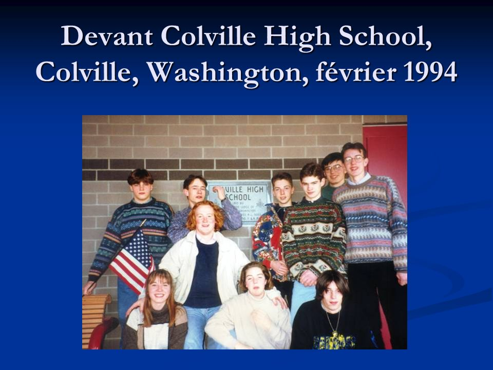 Devant Colville High School, Colville, Washington, février 1994