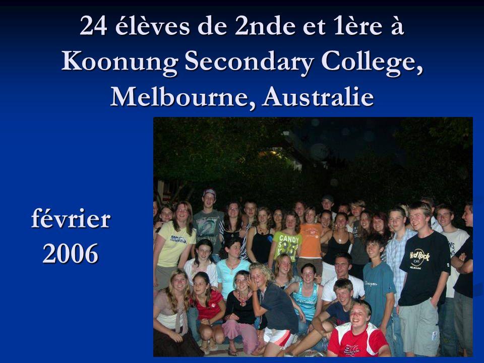 24 élèves de 2nde et 1ère à Koonung Secondary College, Melbourne, Australie février 2006