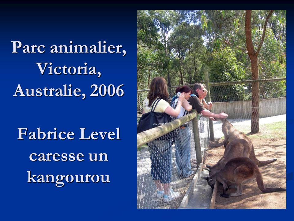 Parc animalier, Victoria, Australie, 2006 Fabrice Level caresse un kangourou