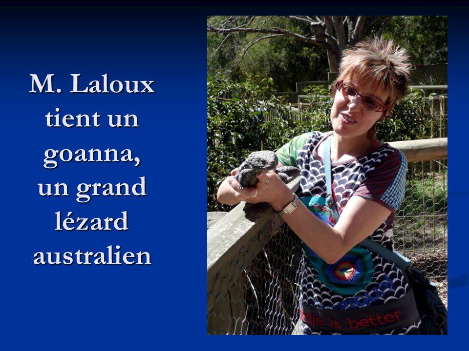 M. Laloux tient un goanna, un grand lézard australien