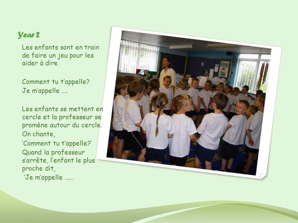 Year 2 Les enfants sont en train de faire un jeu pour les aider à dire Comment tu tappelle? Je mappelle …. Les enfants se mettent en cercle et la prof