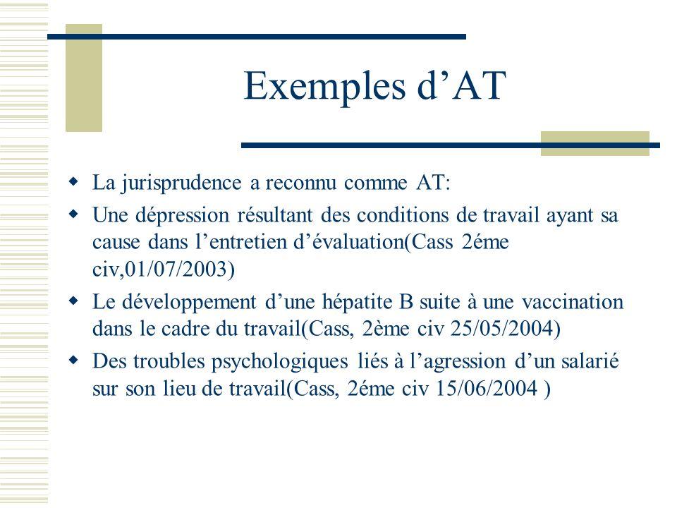 Exemples dAT La jurisprudence a reconnu comme AT: Une dépression résultant des conditions de travail ayant sa cause dans lentretien dévaluation(Cass 2