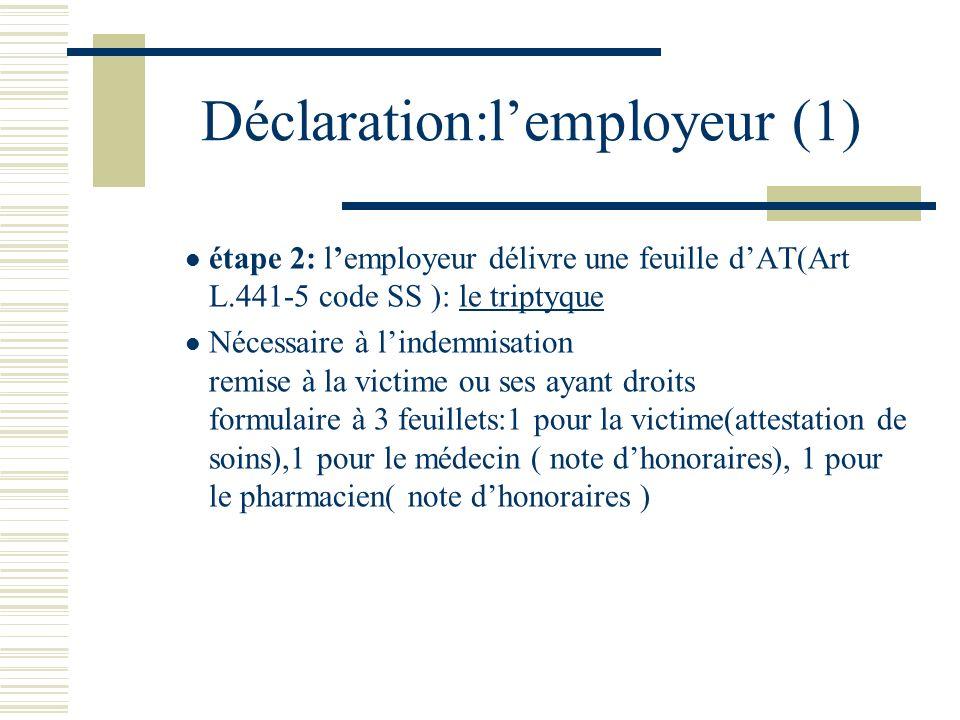 Déclaration: lemployeur(2) étape 2: il déclare lAT sous 48 heures à la caisse dont relève le salarié par lettre recommandée(art L441-2 et R 441-2 code SS ).Cette déclaration fournit les circonstances détaillées de laccident, le nom des témoins éventuels.En cas darrêt de travail,il doit y joindre une attestation de salaires pour permettre le versement des IJ.
