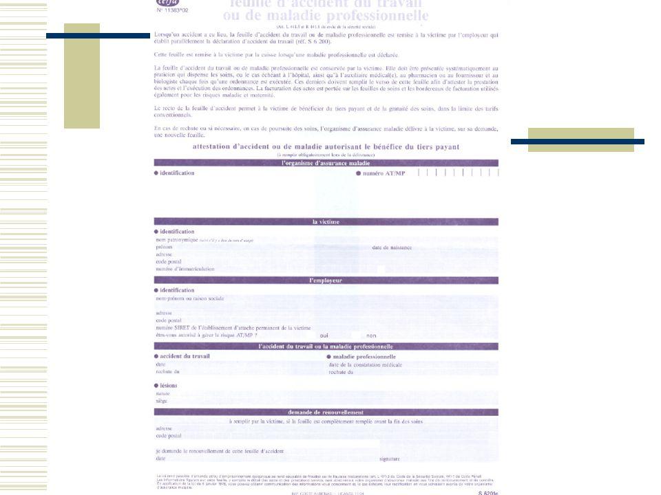 Caisse de sécurité sociale (1) Informe linspecteur du travail Fait procéder dans les 24 heures à une enquête si accident mortel ou prévision dIPP, consignée par un procès verbal ( art L 442-1 à 442-4 Code de la SS ) Possibilité de contrôle par le médecin conseil