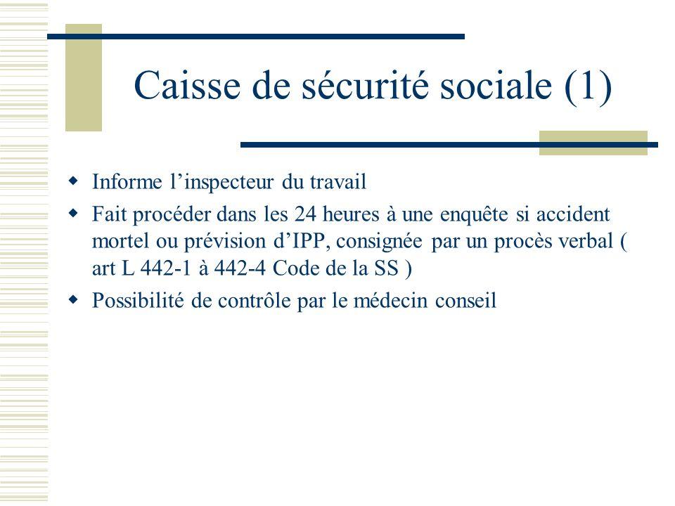 Caisse de sécurité sociale (1) Informe linspecteur du travail Fait procéder dans les 24 heures à une enquête si accident mortel ou prévision dIPP, con