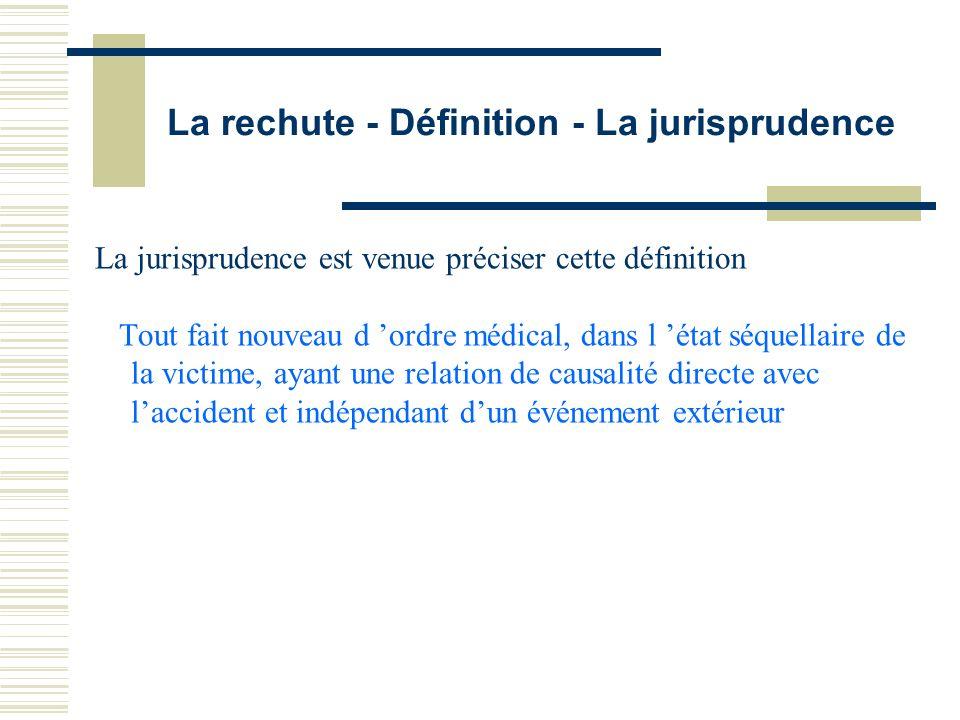 La rechute - Définition - La jurisprudence La jurisprudence est venue préciser cette définition Tout fait nouveau d ordre médical, dans l état séquell