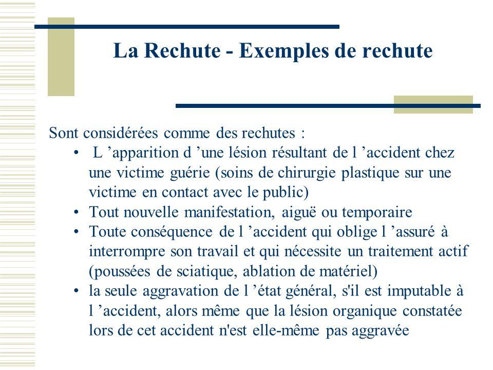 La Rechute - Exemples de rechute Sont considérées comme des rechutes : L apparition d une lésion résultant de l accident chez une victime guérie (soin