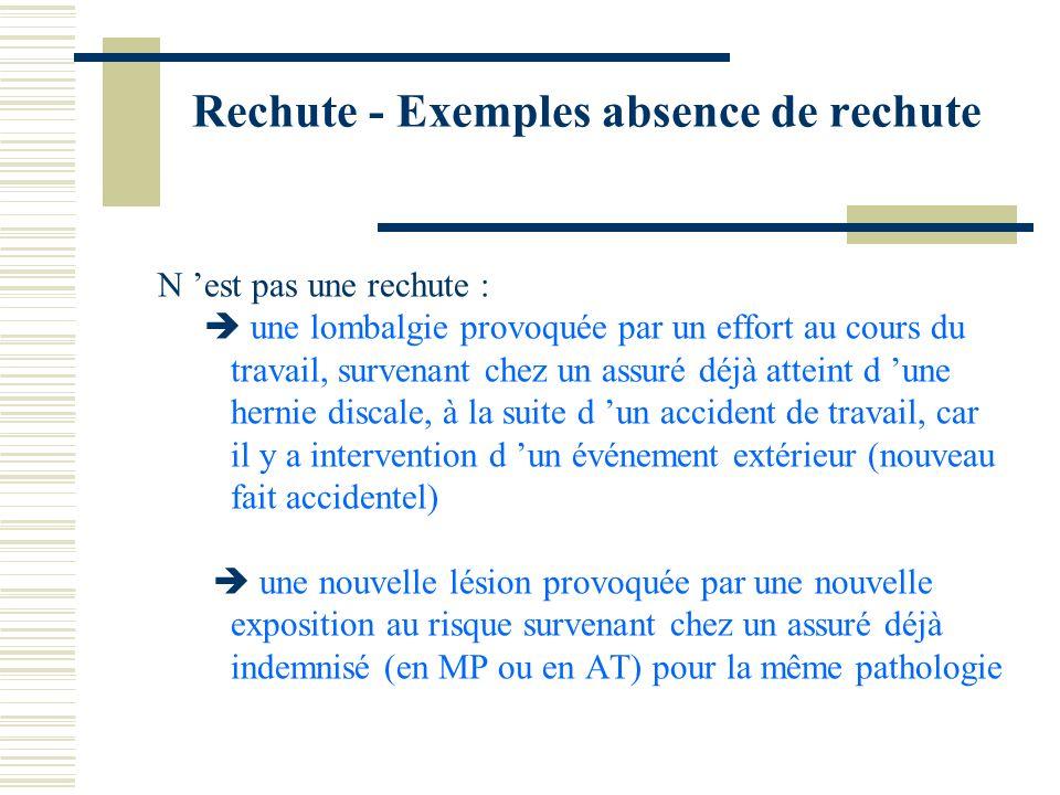 Rechute - Exemples absence de rechute N est pas une rechute : une lombalgie provoquée par un effort au cours du travail, survenant chez un assuré déjà