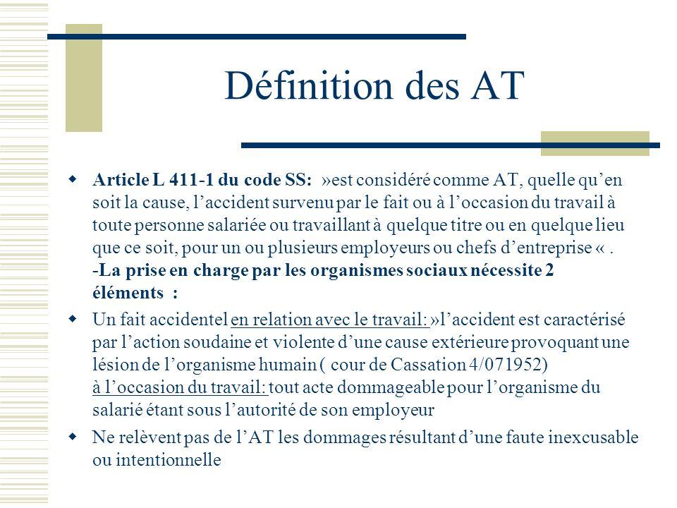 Définitions (2) Préjudice doit être prouvé par la victime ( certificat médical initial ) Relation de cause à effet: « toute lésion dont le travail,même normal, a été la cause ou loccasion,doit être considéré,sauf preuve du contraire, comme résultant dun AT » ( Cour de cassation, 30/07/1949 ): Présomption dimputabilité (cf infra ) La relation entre les lésions et le travail et les lésions est admise dès lors que la caisse de SS ou lemployeur ne peut pas fournir la preuve que lactivité professionnelle na joué aucun rôle dans lapparition des lésions.Le moindre doute bénéficie à lassuré.