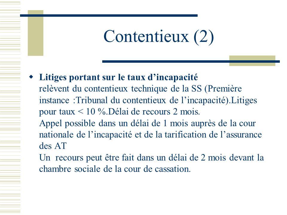 Contentieux (2) Litiges portant sur le taux dincapacité relèvent du contentieux technique de la SS (Première instance :Tribunal du contentieux de linc