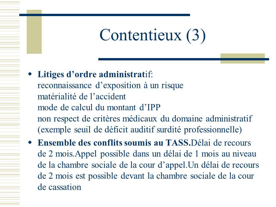 Contentieux (3) Litiges dordre administratif: reconnaissance dexposition à un risque matérialité de laccident mode de calcul du montant dIPP non respe