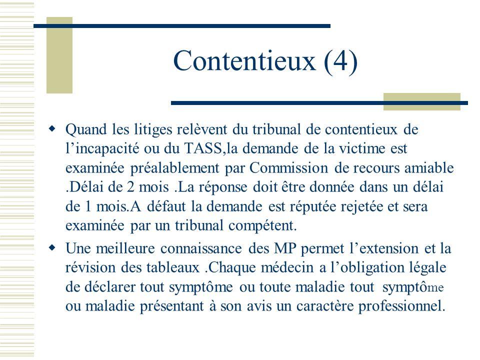 Contentieux (4) Quand les litiges relèvent du tribunal de contentieux de lincapacité ou du TASS,la demande de la victime est examinée préalablement pa