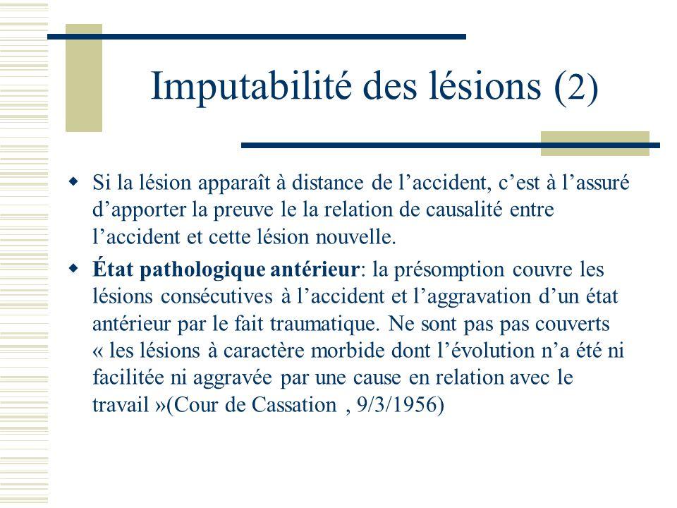 Imputabilité des lésions ( 2) Si la lésion apparaît à distance de laccident, cest à lassuré dapporter la preuve le la relation de causalité entre lacc