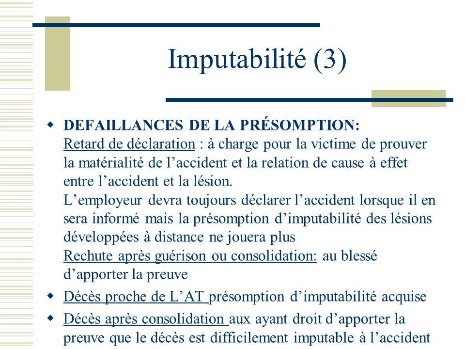 Imputabilité (3) DEFAILLANCES DE LA PRÉSOMPTION: Retard de déclaration : à charge pour la victime de prouver la matérialité de laccident et la relatio