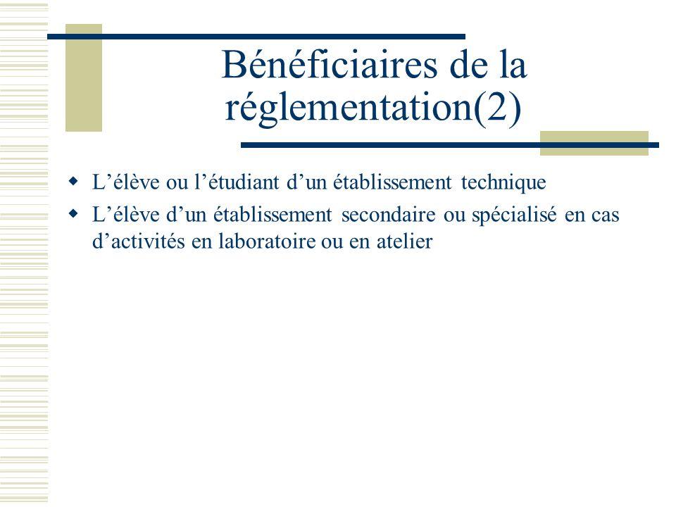 Bénéficiaires de la réglementation(2) Lélève ou létudiant dun établissement technique Lélève dun établissement secondaire ou spécialisé en cas dactivi