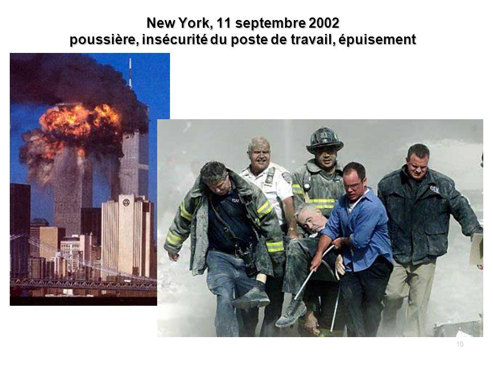 10 New York, 11 septembre 2002 poussière, insécurité du poste de travail, épuisement