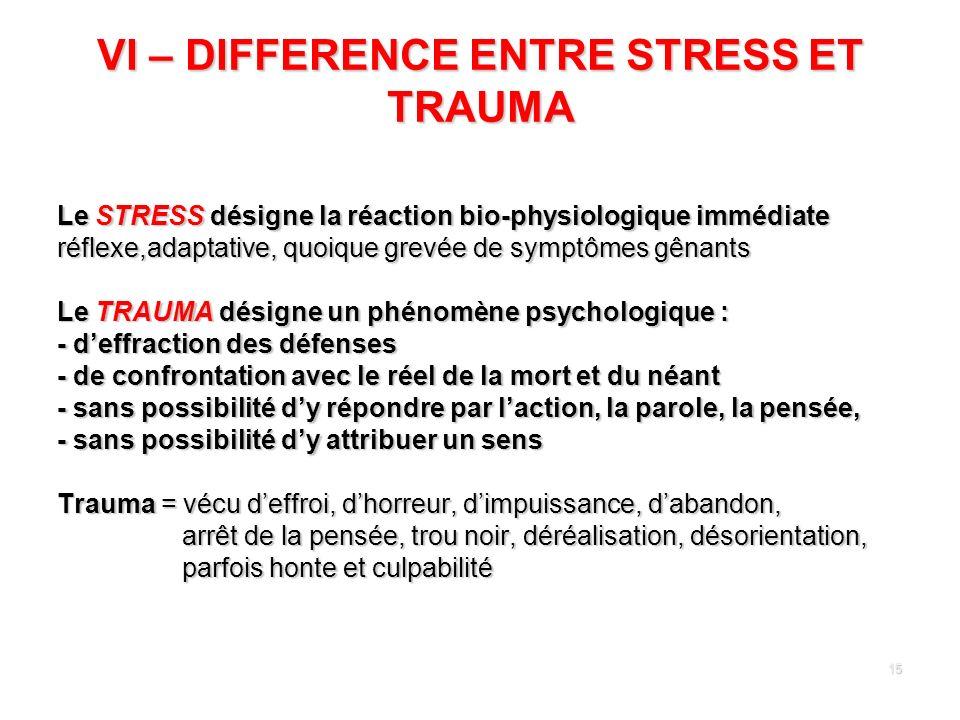 15 VI – DIFFERENCE ENTRE STRESS ET TRAUMA Le STRESS désigne la réaction bio-physiologique immédiate réflexe,adaptative, quoique grevée de symptômes gê